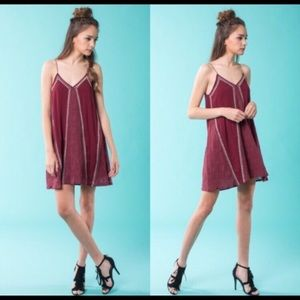 April Spirit maroon embroidered dress